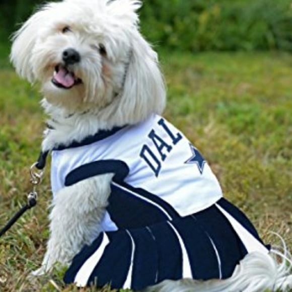 Dallas Cowboys Small Dog Cheer Uniform. M 5b68d1ef8ad2f9d926484c2b 8697536e9